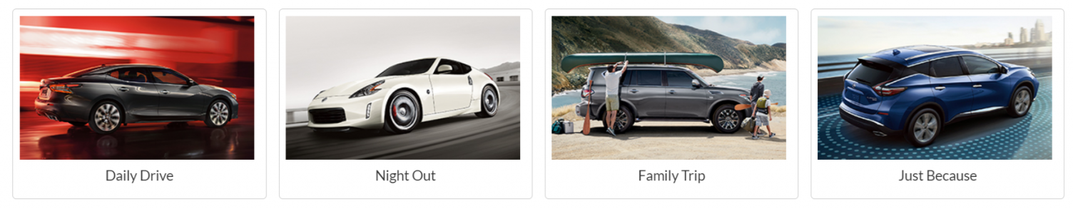 "Nissan advertising their subscription service as a ""car for every need"""