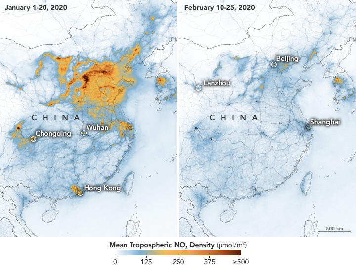 Maps showing China's pollution before and after coronavirus.