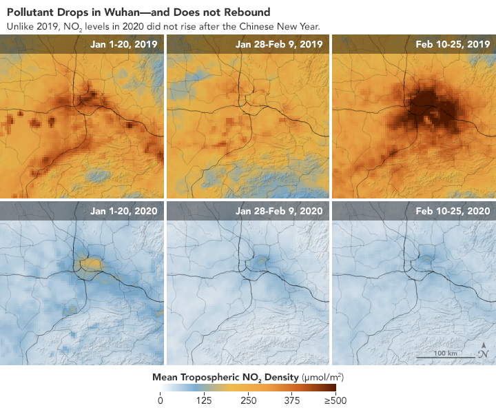 Maps showing the difference in China's pollution levels before and after coronavirus.